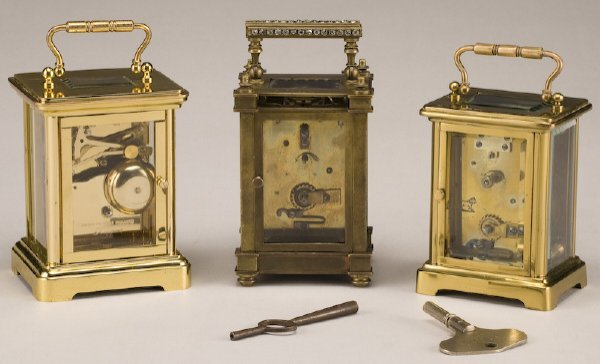 216: (3) Carriage clocks, (1) brass Rapport London, - 2