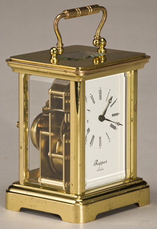 216: (3) Carriage clocks, (1) brass Rapport London, - 5