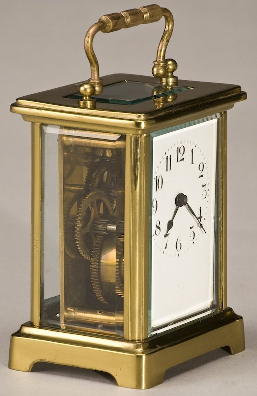 216: (3) Carriage clocks, (1) brass Rapport London, - 6