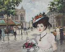 """Francois Gerome """"Place de la Opera, Paris"""" oil"""