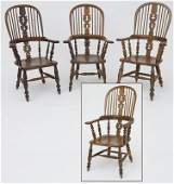 Assembled set of (4) high back Windsor arm chairs