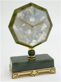Cartier jade and mother-of-pearl desk clock