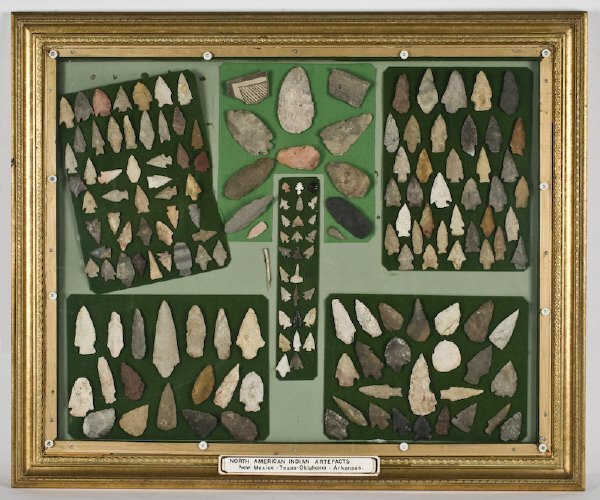 31: Framed collection of American Indian arrow heads,