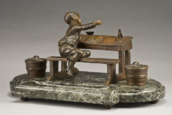 324: French D. Grisard bronze inkwell desk set