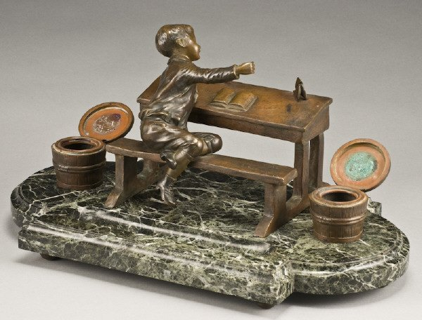 324: French D. Grisard bronze inkwell desk set - 2