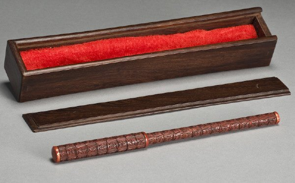 379: Chinese late Ming dynasty cinnabar paint brush - 2