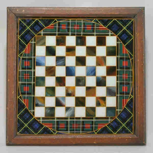 1: A reverse paint on glass gameboard having