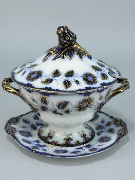 2: A large flow blue tureen with matching underplate,