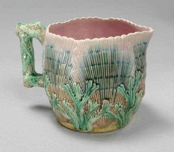 4: Stamped Etruscan Majolica pitcher decorated