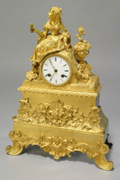 11: French gilt bronze figural mantle clock with