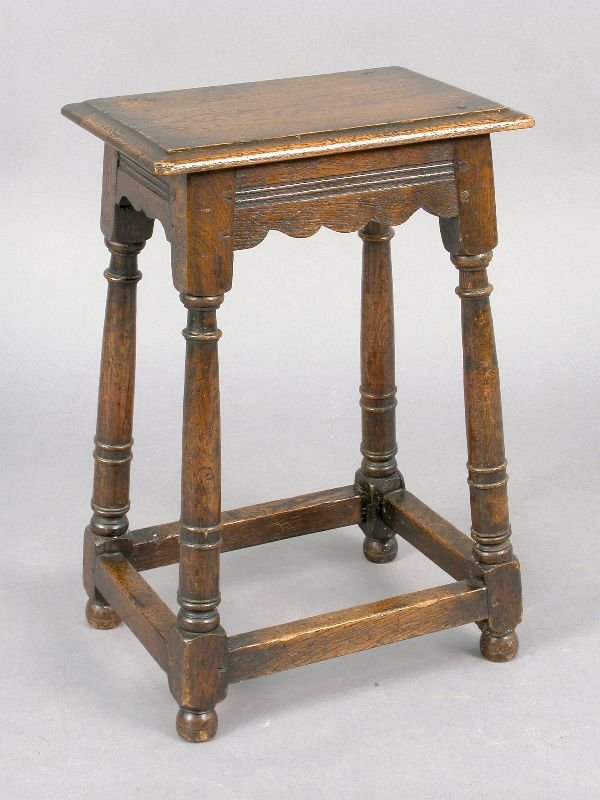 13: William and Mary style oak joined stool with