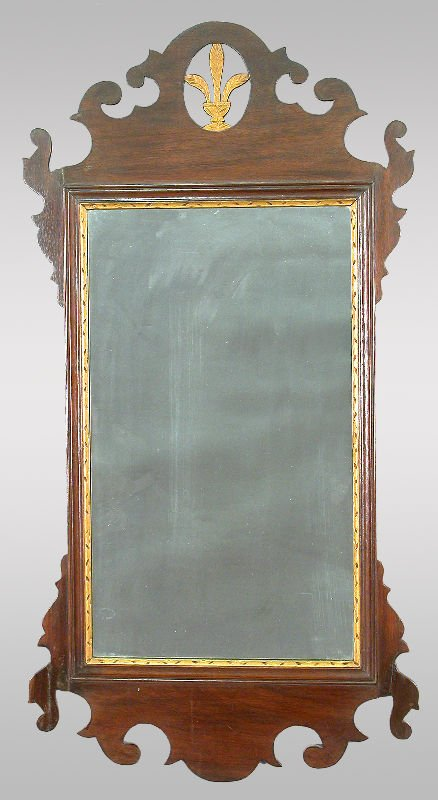 15: American Chippendale style mahogany wall mirror