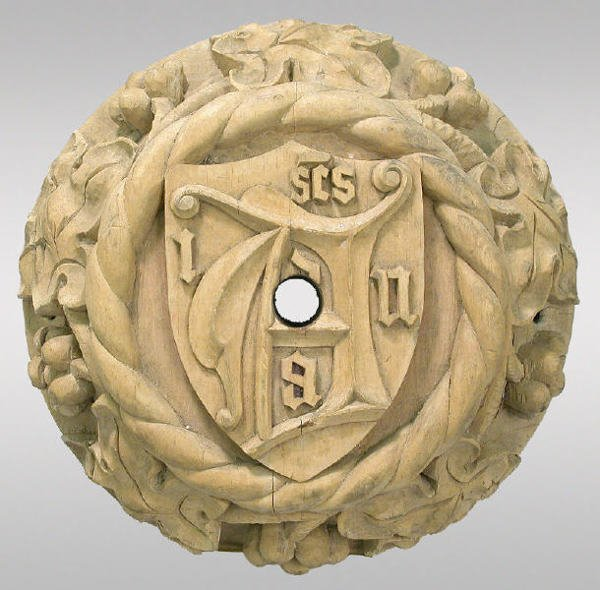 16: Pair of carved wood ceiling rosettes having