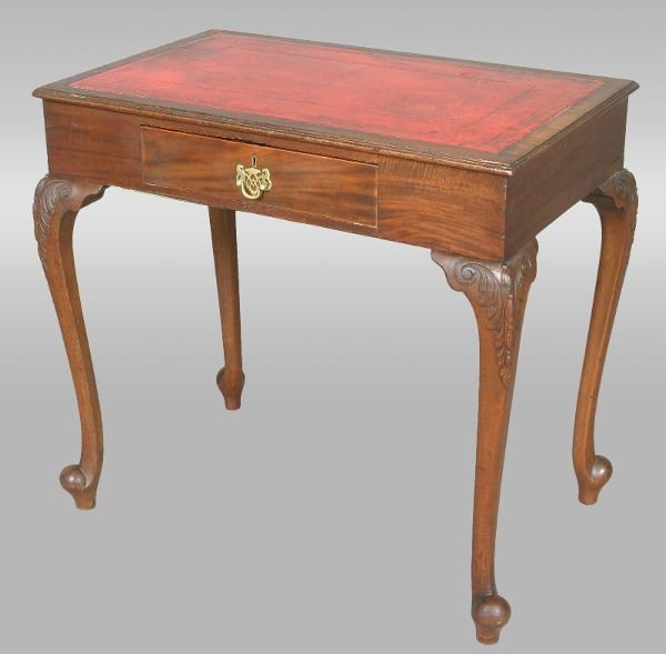 21: English writing table with embossed red leather
