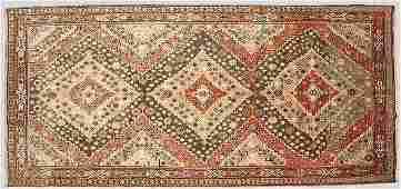 105: Antique Turkish oriental rug with a field