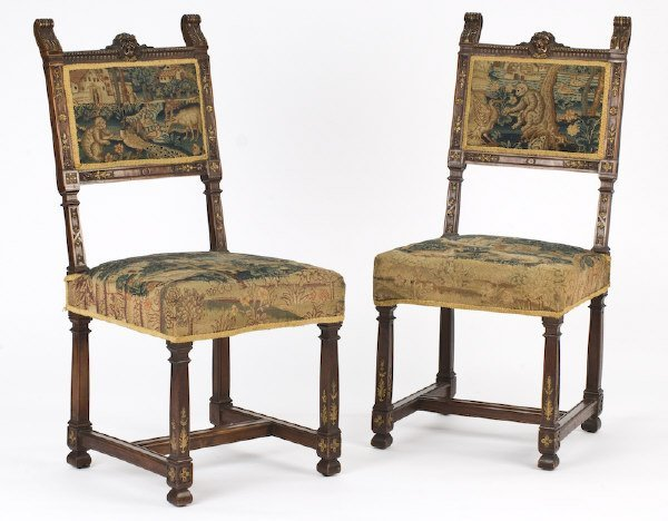 6: Pr. Flemish walnut side chairs with a lion's