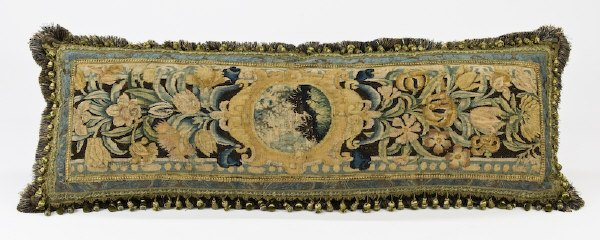 9: Large 18th C. tapestry fragment finished as