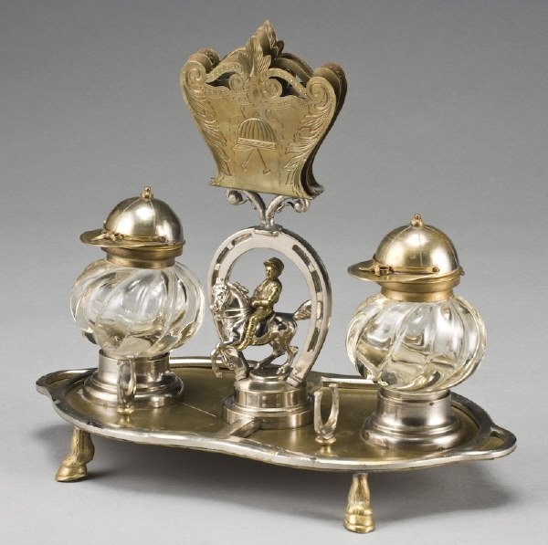 11: Equestrian brass and silver plate desk set