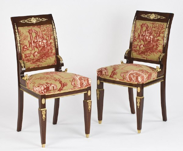 15: Pr. Empire style ormolu mounted side chairs