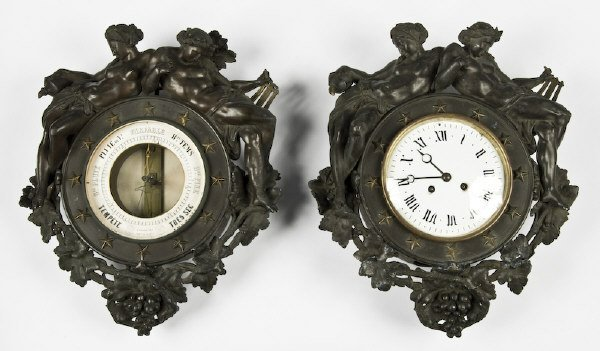 19: 2 Pc. French hanging clock and barometer set