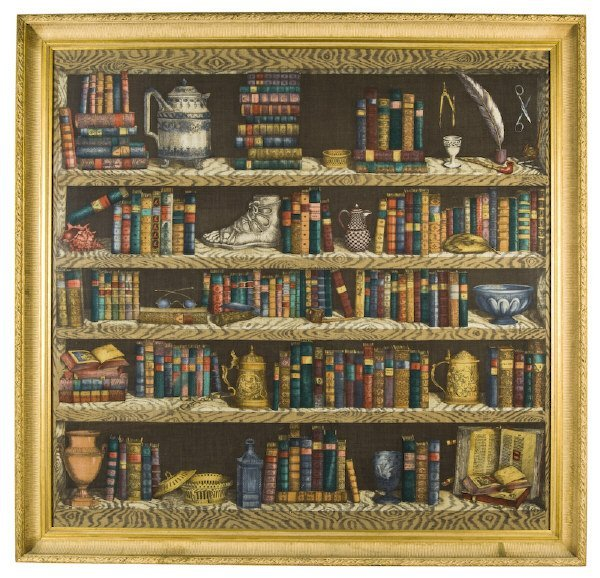 20: Large framed Piero Fornasetti printed scarf