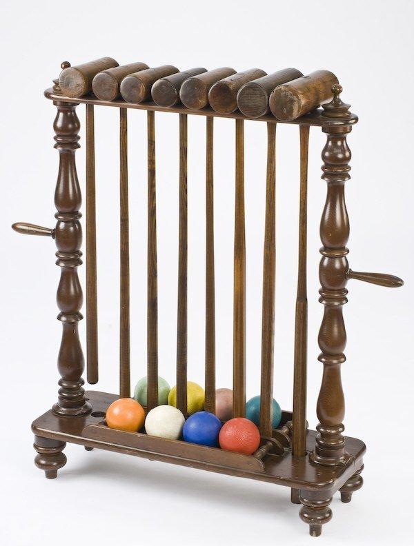 22: Victorian croquet set on hardwood stand