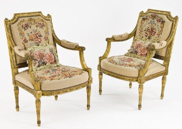 133: Pr. Louis XVI style gilt wood arm chairs,