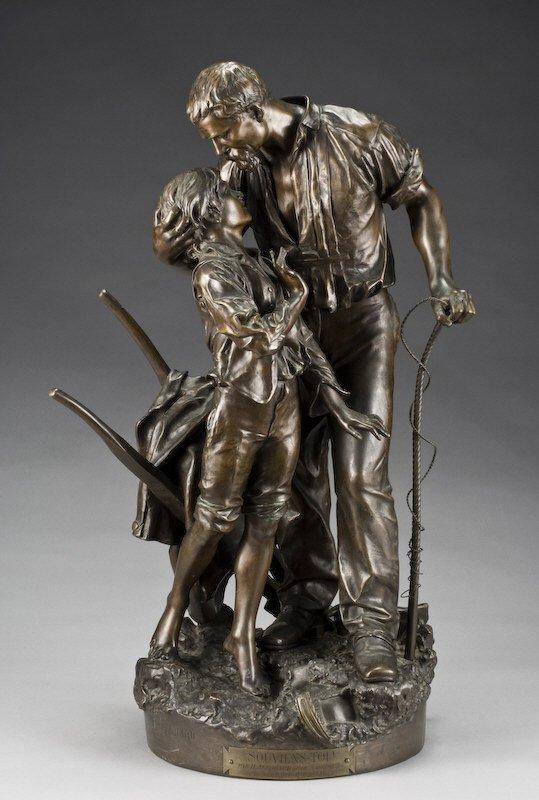 "171: Henri Allouard bronze sculpture, ""Souviens- Toi!"","