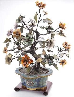 Chinese Qing cloisonne jade tree,