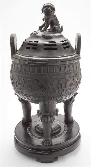 Chinese Ming bronze tri-pod censer,