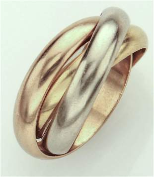 Cartier 18K tri-color gold Trinity ring.