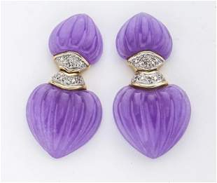 Pr. Lavender jadeite, 14K gold & diamond earrings.