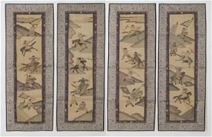 (4) Chinese kesi scrolls,