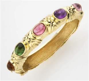 18K yellow gold & colored stone bracelet,