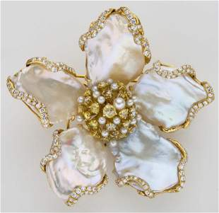 18K yellow gold, freshwater pearl & diamond