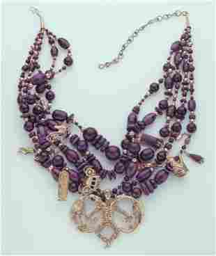 Eric de Kolb 14K gold and sugilite charm necklace,