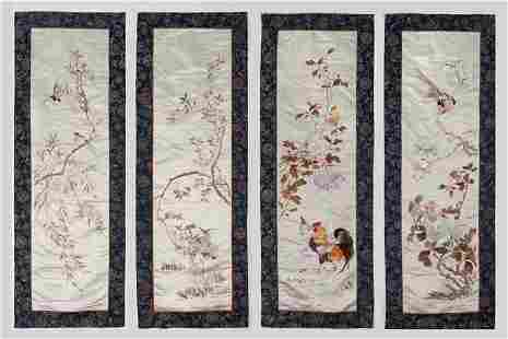 (4) Chinese Republic embroidery panels,