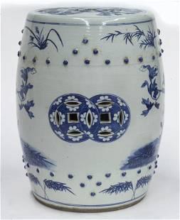 Chinese Qing blue & white porcelain stool,