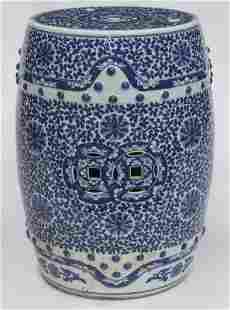 Chinese Qing blue & white porcelain garden stool,