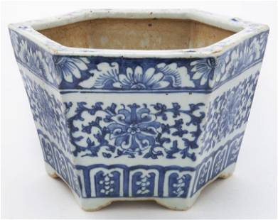 Chinese Qing blue & white planter,