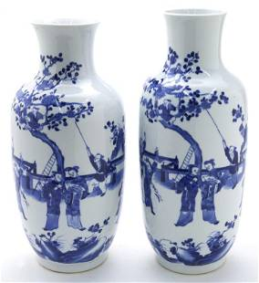 Near pair Chinese Qing blue & white porcelain