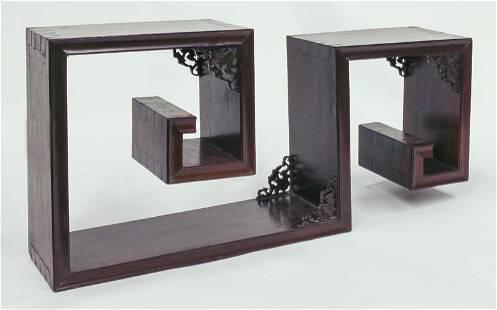 Chinese Republic rosewood curio display shelf,