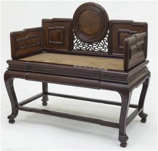 Chinese Qing suchow school rosewood bench,