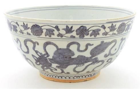 Large Chinese Ming blue & white bowl,