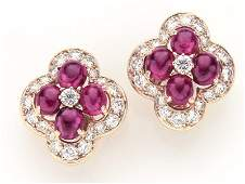 Cartier 18K yellow gold, ruby & diamond ear clips.
