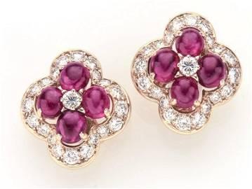 Cartier 18K yellow gold, ruby & diamond ear clips.