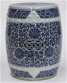 Chinese Qing blue and white porcelain stool,