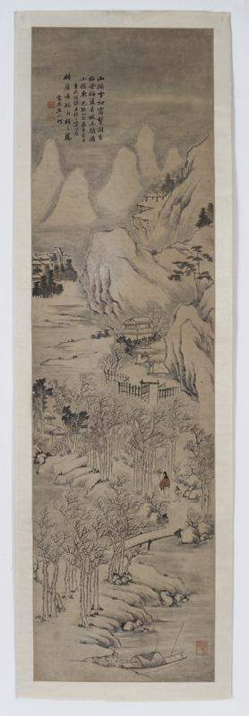 Chinese Qing watercolor scroll,