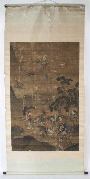 Large Chinese Qing watercolor on silk scroll,