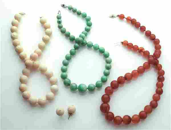 (3) Beaded necklaces,